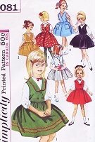 1960s CUTE Little Girls Jumper and Blouse Pattern SIMPLICITY 5081 Childrens Full Skirt Surplice Jumper Peter Pan Puff Sleeve Blouse  Size 4 Vintage Sewing Pattern