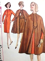 1960s ELEGANT Reversible Cape Coat, Ascot and Slim Dress Pattern SIMPLICITY 5674  Classy Day or After 5 Styles Bust 36 Vintage Sewing Pattern UNCUT