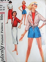 Vintage 1950s NAUTICAL  Top, Blouson Jacket, High Waist Shorts, and Wrap-around Skirt Sewing Pattern Simplicity 2071 Bust 34