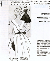 1950s  STUNNING Joset Walker Evening Party Cocktail Dress Pattern SPADEA 1102 Low V Neckline Full Flattering Skirt Bust 36 Vintage Sewing Pattern FACTORY FOLDED