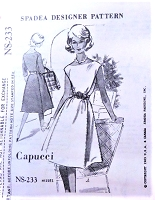 1960s CLASSY Capucci Panel Dress Pattern SPADEA 233 Daytime or Cocktail Party 2 Versions  Bust 34 Vintage Sewing Pattern