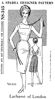 1960s CLASSY Lachasse of London Cockail Evening Party Dress Pattern SPADEA 345 Slim Front Pleated Back Low V Back Bust 35 Vintage Sewing Pattern