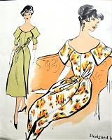 1950s STUNNING Evening Party Dress Pattern VOGUE Couturier Design 105 Eye Catching Cocktail Evening Dress Bust 36 Vintage Sewing Pattern