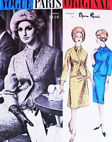 1960s NINA RICCI Classy Suit and Scarf Pattern VOGUE PARIS Original 1116 Lovely Cutaway Front Jacket Choice of Slim or Flared Skirt Bust 38 Vintage Sewing Pattern