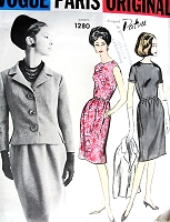 1960s EASY Elegance Patou Dress and Jacket Pattern VOGUE Paris Original 1280  Slim Day or Evening Cocktail Party Dress Fitted Jacket Bust 34 Vintage Sewing Pattern FACTORY FOLDED