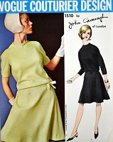 60s JOHN CAVANAGH Drop Waist Dress Pattern VOGUE COUTURIER Design 1510 Blouson top Dress Bias Cut Flippy Skirt Daytime or Cocktail Party Bust 38 Vintage Sewing Pattern FACTORY FOLDED
