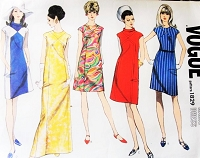 MOD 60s Basic Slim Dress Pattern VOGUE 1829 Five Style Versions Two Lengths  Bust 31 Vintage Sewing Pattern UNCUT