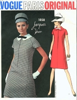 1960s MOD Jacques Heim Dress Pattern VOGUE Paris Original 1858  A-Line Dress Peter Pan Collar Size 8  Vintage Sewing Pattern