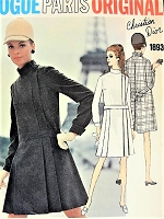 1960s Mod VOGUE Paris Original 1893 Designer DIOR Elegant Coat Dress Side Closing Day or Cocktail Size 10 Vintage Sewing Pattern +Label
