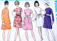 1960s MOD Dress Pattern VOGUE Basic Design 2019 Five Pretty Styles Includes Scallop Detail Bust 34 Vintage Sewing Pattern