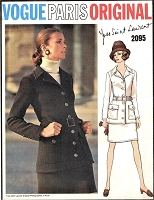 60s YSL Suit Pattern VOGUE Paris Original 2095 Mod Yves Saint Laurent Suit Fab Design Bust 34 Vintage Sewing Pattern UNCUT