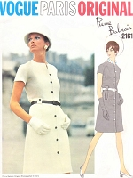 1960s STYLISH Slim Balmain Dress Pattern VOGUE Paris Original 2161 Mock Front Button Easy Elegance Bust 34 Vintage Sewing Pattern FACTORY FOLDED