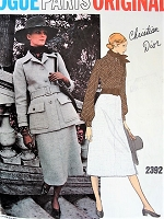 1970s DIOR Suit and Blouse Pattern VOGUE Paris Original 2392 Elegant Midi Skirt Suit Size 10 Vintage Sewing Pattern +Vogue Sew In Label