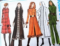FAB 1970s Coat and Pants Pattern VOGUE Basic Design 2565Regular or Midi Lengths Hooded Coats Straight Pants Bust 36 Vintage Sewing Pattern UNCUT
