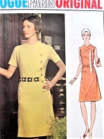 1970s MOLYNEUX Chic  Fitted Aline Dress VOGUE PARIS Original 2707 Side Closing Look Bust  32 Vintage Sewing Pattern UNCUT