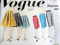 1960s CLASSIC Skirts in Four Styles Vogue 3012 Vintage Sewing Pattern