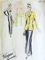 1940s FILM NOIR Slinky Slim Evening Gown and Longer Length Jacket Pattern VOGUE Couturier Design 377 Low Decolletage Flattering Cluster Shirrings Bust 30 Vintage Sewing Pattern
