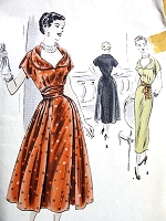 1950s BEAUTIFUL Slim Party Dress Gathered Tie On Panels Pattern VOGUE 4003  Bust 36 Vintage Sewing Pattern