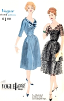 1950s LOVELY Cocktail Evening Party Dress and Slip Pattern VOGUE SPECIAL Design 4012  Gathered Plain or Tiered Skirt Two Bodice Styles  Bust 36 Vintage Sewing Pattern FACTORY FOLDED