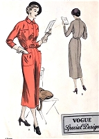 1940s STYLISH Dress Pattern VOGUE Special Design 4039 Slim Dress with Large Pockets Bust 30 Vintage Sewing Pattern UNCUT