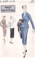 1950s FABULOUS Suit Pattern VOGUE Special Design 4187 Slim Skirt Double Breasted Jacket Bust 30 Vintage Sewing Pattern UNCUT