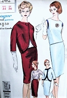 1960s CLASSY Slim 3 Pc Suit Pattern VOGUE Special Design 4202 Two Style Versions Daytime or Evening Bust 34 Vintage Sewing Pattern UNCUT