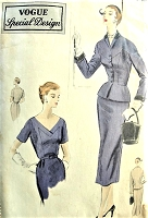 1950s CLASSY Slim Dress and Fitted Peplum Jacket Pattern VOGUE Special Design 4427 Lovely Deep V Neckline Dress Beautifully Fitted Jacket Bust 36 Vntage Sewing Pattern