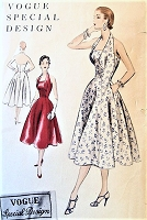 1950s STUNNING Halter Evening Party Dress Pattern VOGUE Special Design 4506 Beautiful Style Bust 34 Vintage Sewing Pattern