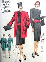 1940s FABULOUS Film Noir Slim Dress, Coat and Detachable Peplum Pattern VOGUE  Special Design 4600 Day or Evening Slim Dress Bust 36 Vintage Sewing Pattern