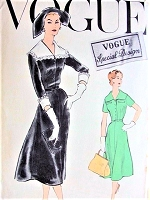1950s SNAPPY Flare Skirt Dress and Detachable Collar Cuffs Pattern VOGUE Special Design 4839 Bust 34 Vintage Sewing Pattern FACTORY FOLDED