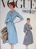 1950s STYLISH Flared Dress with Daisy Transfers Vogue 4858 Bust 36 Vintage Sewing Pattern