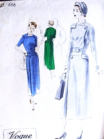 1940s ELEGANT Slim Dress Pattern VOGUE Couturier Design 486 Unique Style Day or After 5 Bust 34 Vintage Sewing Pattern
