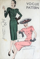1940s DAZZLING Dress with Seam Details and Bateau Neckline Vogue Pattern 5166 Bust 36