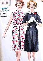 1960s PRETTY Dress Pattern VOGUE 5214 Front Inverted Pleat Detachable Collar Slit Neckline Day or After 5 Bust 32 Vintage Sewing Pattern UNCUT