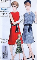 1960s CLASSY Blouson Dress Pattern VOGUE Young Fashionables 5347 Flared Skirt Day or Party Cocktail Dress Bust 36 Vintage Sewing Pattern UNCUT
