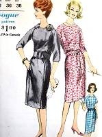 1960s SLIM Dress Pattern VOGUE 5407 Three Style Versions Bust 34 Vintage Sewing Pattern UNCUT