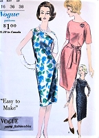 1960s FLATTERING Sheath Dress Pattern VOGUE Young Fashionables 5433 Bateau Neckline Easy To Make Day or Party Dress Bust 36 Vintage Sewing Pattern UNCUT