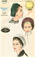 Early 60s CLASSY John Frederics Halo Beret Hats Pattern VOGUE 5640 Vintage Sewing Pattern FACTORY FOLDED