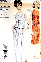1960s ELEGANT Two Pc Evening Dress Pattern VOGUE Special Design 5720 Bust 34 Vintage Sewing Pattern FACTORY FOLDED