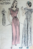 1940s GLAMOROUS Vintage Nightgown Vogue Pattern 5720 Sewing Pattern Bust 32-34