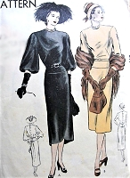 1940s GORGEOUS Evening Dinner Cocktail Dress Pattern VOGUE 5828 Lovely Sleeves and Hemline Very Adrian Bust 34 Vintage Sewing Pattern