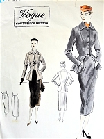 1950s CHIC Suit Pattern VOGUE COUTURIER Design 594 Unique Fitted Jacket With Cut Out In Front, Slim Skirt Bust 32 Vintage Sewing Pattern