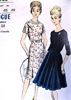 1960s BEAUTIFUL Day or Party Dress Pattern VOGUE 5988 Slim or Flared Gored Skirt Dress Bust 45 Vintage Sewing Pattern