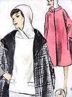 1960s CLASSY  Two Piece Dress and Coat Pattern VOGUE 6047 Slim Skirt, Attached Hood Overblouse  Beautiful Coat Bust 34 Vintage Sewing Pattern