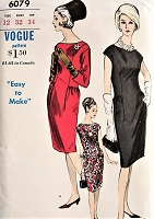 1960s MOD Shift Dress Vogue 6079 Vintage Sewing Pattern Bust 32