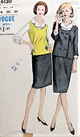 1960s SMART Suit, Blouse, and Sweater Vest Vogue 6130 Bust 36 Vintage Sewing Pattern