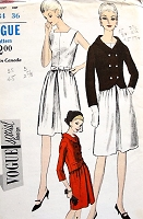 1960s MOD Dress and Short Jacket Pattern VOGUE Special Design 6442 Day or Cocktail Party Bust 34 Vintage Sewing Pattern UNCUT