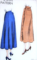 1940s  Front Button Skirt Pattern VOGUE 6492 Flattering Slightly Flared Skirt 28 Inch Waist Vintage Sewing Pattern