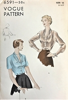 1950s BEAUTIFUL Blouse Pattern VOGUE 6591 Draped V Neckline Day or Evening Blouses Bust 34 Vintage Sewing Pattern FACTORY FOLDED