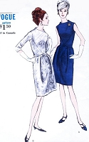 1960s ELEGANT Day or Evening Cocktail Dress Pattern VOGUE 6680 Two Versions Bust 34 Vintage Sixties Sewing Pattern UNCUT